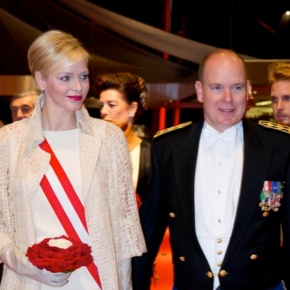 Their Serene Highnesses Prince Albert II and Princess Charlene of Monaco Attend a Gala Performance at the Grimaldi Forum.