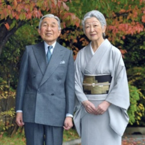 Their Imperial Majesties Emperor Akihito and Empress Michiko of Japan Meet with Peach Farmers in Fukushima City.