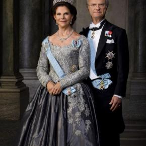 Their Majesties King Carl XVI Gustaf and Queen Silvia of Sweden Attend a Reception.