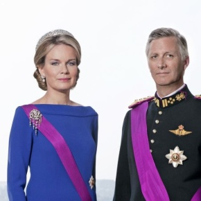 Their Majesties King Philippe and Queen Mathilde of Belgium Attend a Special Mass at the Église Notre-Dame de Laeken.