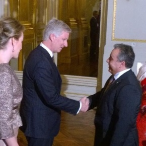 Their Majesties King Philippe and Queen Mathilde of Belgium Host a New Year Reception.