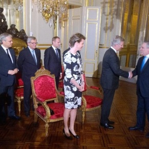 Their Majesties King Philippe and Queen Mathilde of Belgium Host a Reception.