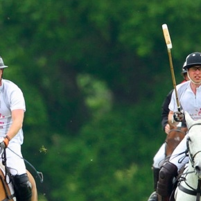 The Duke of Cambridge and Prince Harry of Wales Participate in a Polo Match.