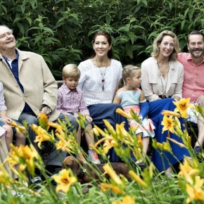Members of the Danish Royal Family Pose for the Press.