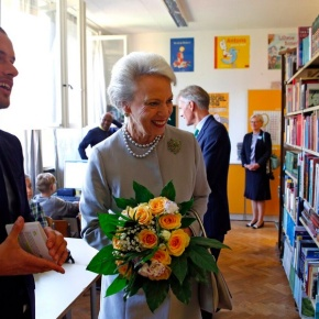HRH Princess Benedikte of Denmark Visits a School in Berlin.