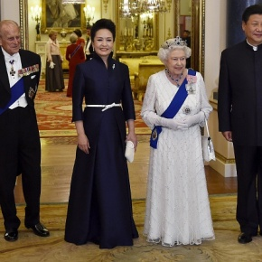 HM Queen Elizabeth II Hosts a Gala State Banquet at Buckingham Palace.