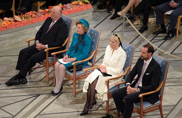 (L-R) Harald V, King of Norway, his wife Queen Sonja, Norway's Crown Princess Mette-Marit and Crown Prince Haakon attend the Nobel Peace Prize award ceremony in Oslo, Norway, December 10, 2015. The Nobel Peace Prize will be awarded to four civil society groups, who led Tunisia's transition to democracy, though the country has now been plunged into a state of emergency as it battles the threat of jihadism.    AFP PHOTO / ODD ANDERSEN / AFP / ODD ANDERSEN        (Photo credit should read ODD ANDERSEN/AFP/Getty Images)