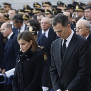TMs King Felipe VI and Queen Letizia of Spain Attend a Funeral in Madrid.